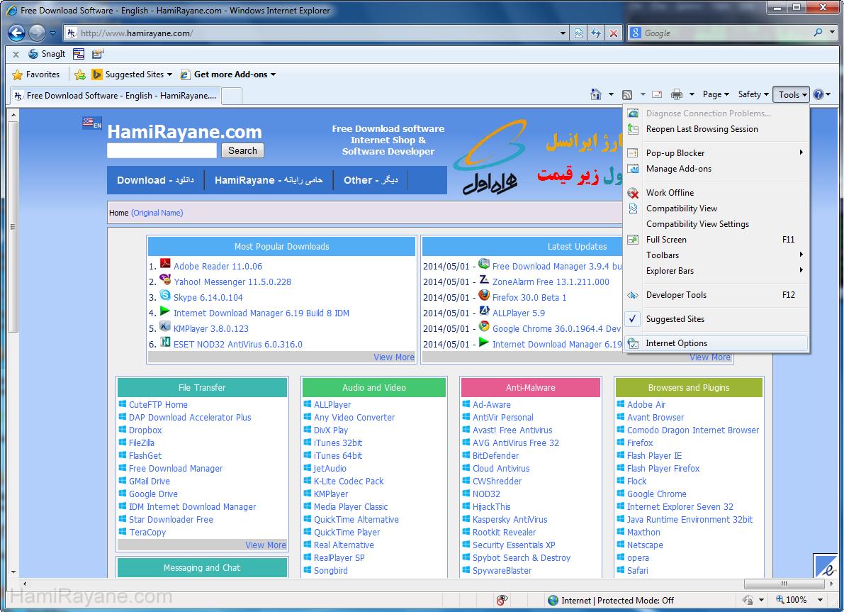 The installation process - Screenshot Internet Explorer